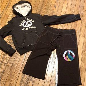 Peace Sign Bundle VS PINK Pants & Zip Up Hoodie M